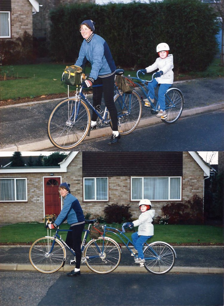 Judy with the newly bought trailer bike and her son, then aged five. 1988.